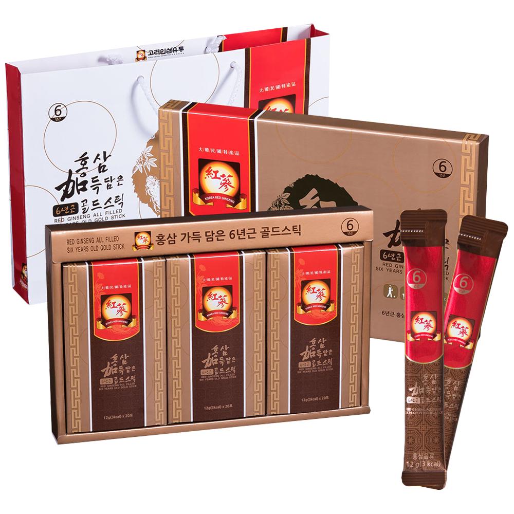 고려인삼유통 홍삼 가득 담은 6년근 골드스틱 + 쇼핑백, 720g, 1세트