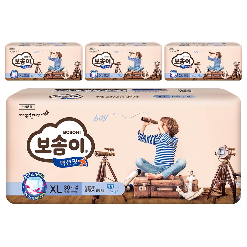 보솜이 액션핏 팬티형 기저귀 남아용 특대형(13~18kg), 120개입