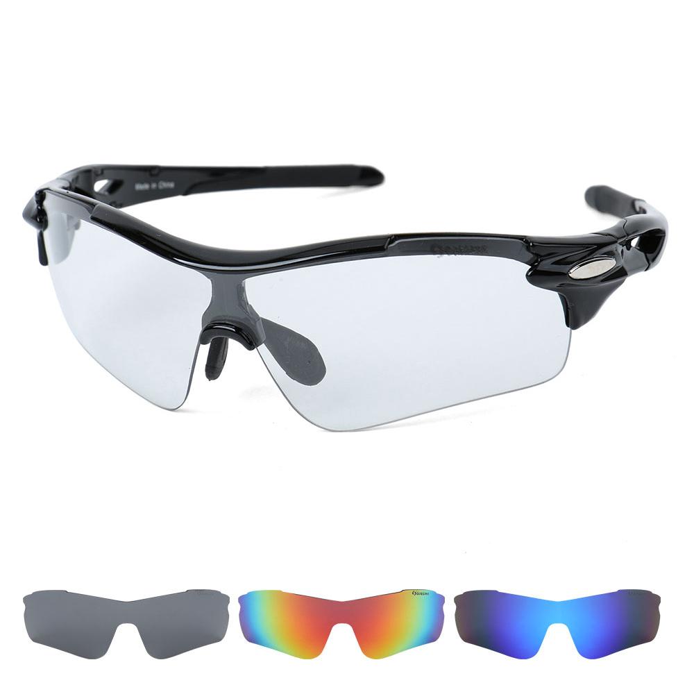 오클렌즈 변색 렌즈4종 편광선글라스 스포츠고글 S54, 블랙프레임, 변색 + 편광(스모크, 블루, 레드)