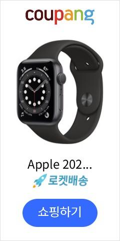 Apple 2020년 애플워치 6 GPS 44mm 레귤러, 스페이스 그레이 알루미늄(케이스), 블랙(스포츠 밴드)