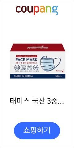 태미스 국산 3중 필터 일회용 마스크 50매 (국내산) 2박스 총100매, 2box, 50매입