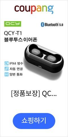 [정품보장] QCY-T1 TWS 블루투스 무선 이어폰 무선블루투스, 블랙, 본체
