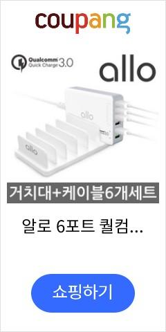 알로 6포트 퀄컴 QC3.0 고속 멀티충전기 UC601QC3, 1세트, UC601QC3 5핀 케이블 세트