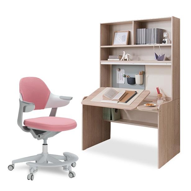 리바트온라인 로넌 각도 높이조절 전면책상+그로잉 의자 세트(무회전), 로넌+좌판 패브릭 핑크