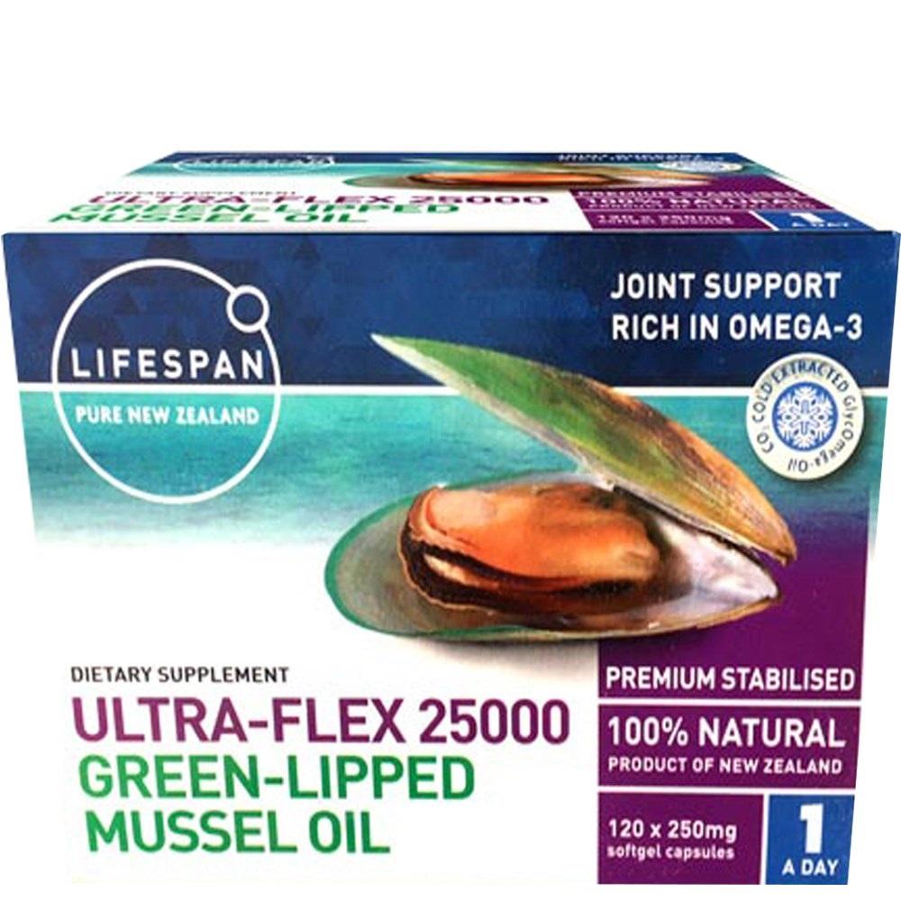 라이프스팬 울트라플랙스 초록입홍합오일 25000 120캡슐 1통 /Lifespan Ultra-Flex 25000 Green Lipped Mussel Oil, 25000mg, 1개