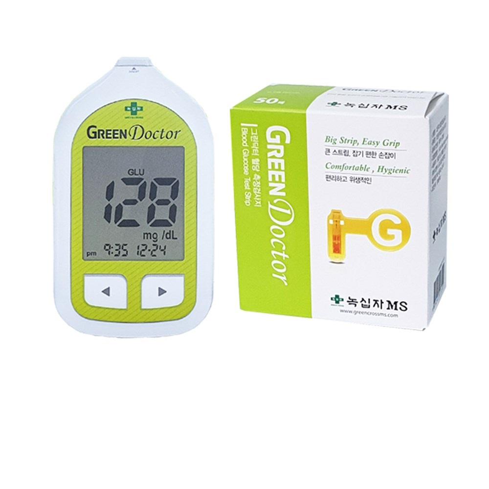 녹십자 그린닥터 혈당측정기풀세트 (22년01월시험지100매+채혈침110매+알콜솜100매)P 혈당측정기 세트, 1세트