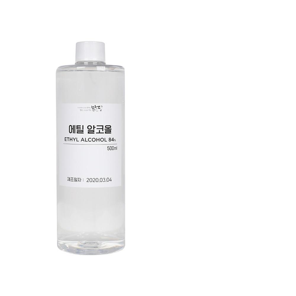 [맑을담] 소독용 에탄올 식물성 소독용 에탄올 에틸알코올84% 500ml 10개, 단품
