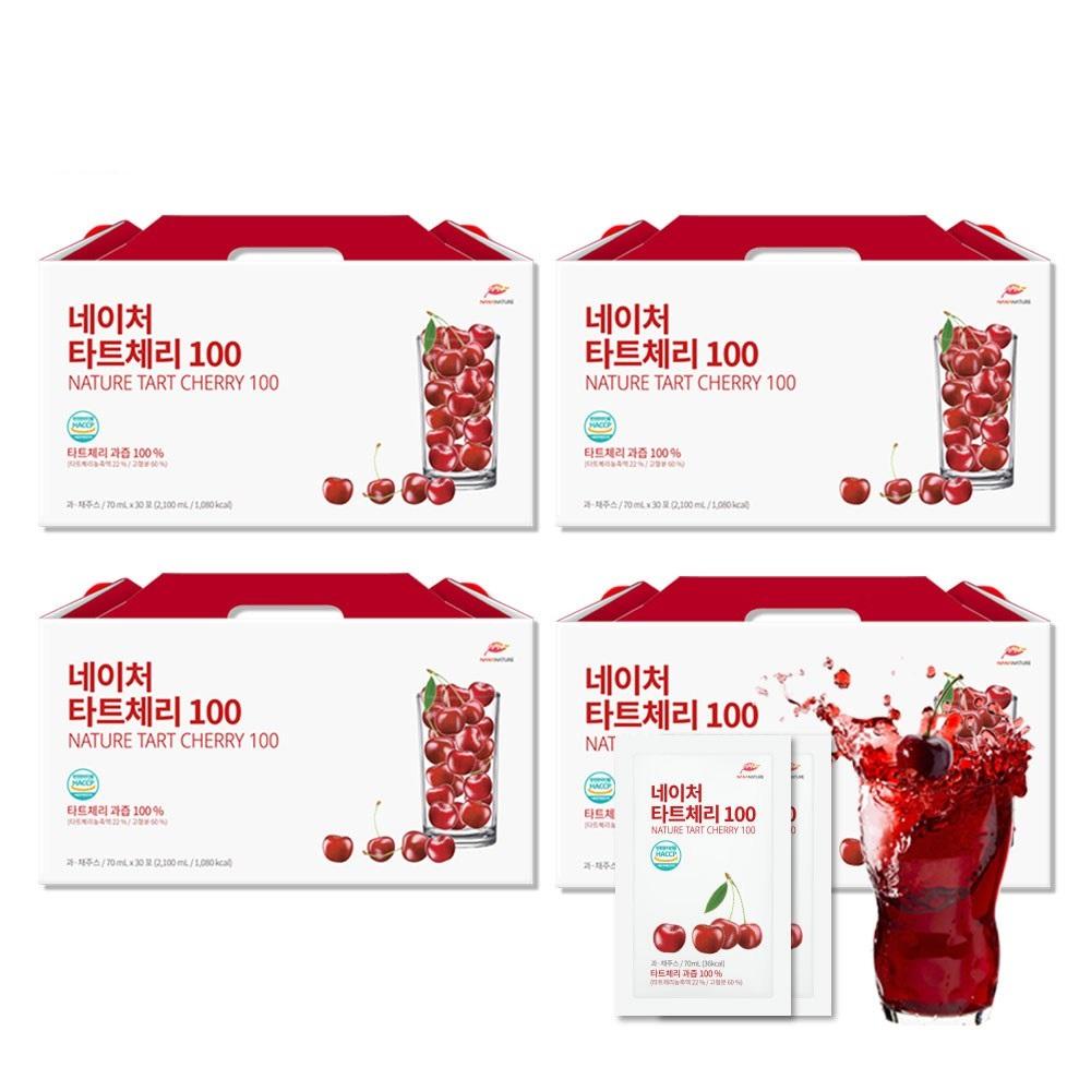 나나네이처 몽모랑시 타트체리 과즙 100% 1박스 2100ml 30포 타트체리쥬스 과즙주스, (2+2)2100ml/30개입, 4박스