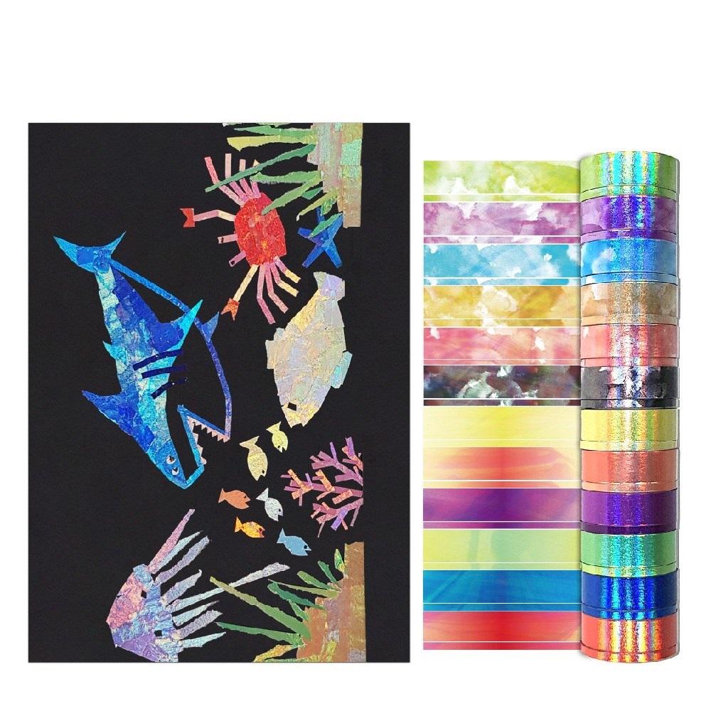 신우팩토리 홀로그램 마스킹테이프 홈스쿨링 엄마표 미술놀이 세트, 혼합색상