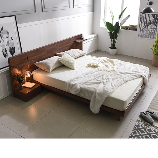 삼익가구 디엔 멀바우 헤드형 침대(슬립웰 7존 독립 매트리스-퀸), 멀바우브라운