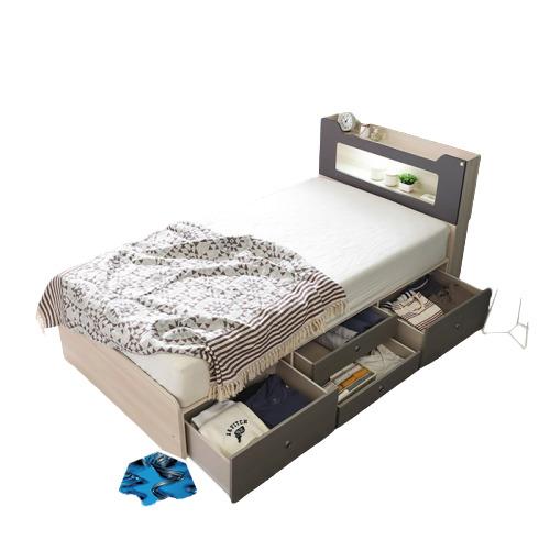 동서가구 스텔라 LED 수납헤드 4서랍 침대 슈퍼싱글+컴포트본넬매트, 워시그레이