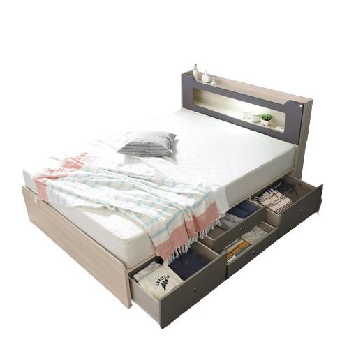 동서가구 스텔라 LED 수납헤드 4서랍 침대 퀸 프레임, 오크워시