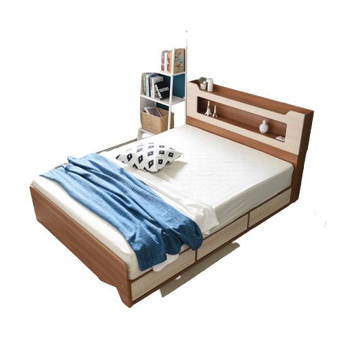 동서가구 스텔라 LED 수납헤드 3서랍 침대 퀸+3D 멀티7존독립매트, 워시그레이