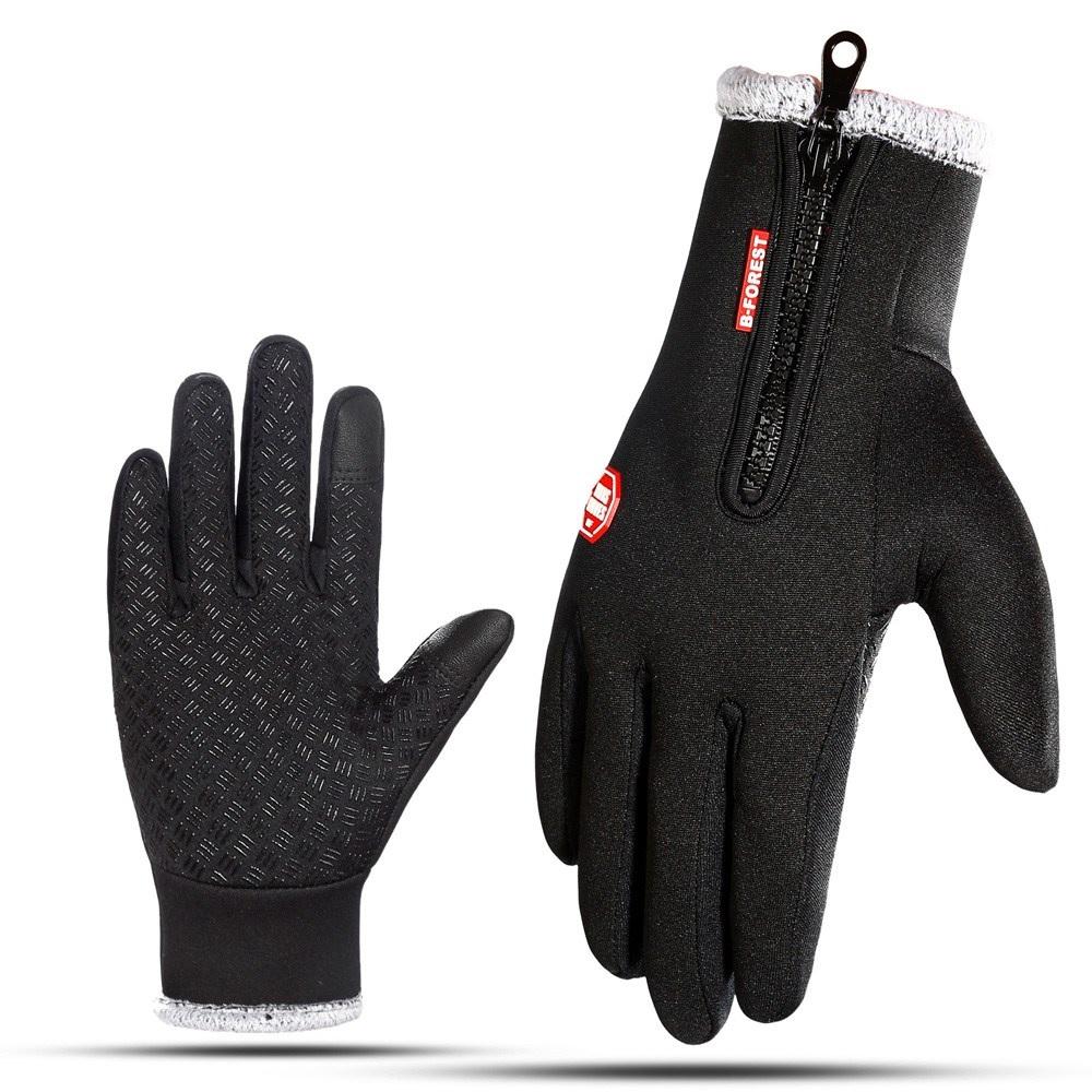 케이와이티 융털 방풍 방한 방수 겨울장갑 등산 운동 자전거 터치장갑, 블랙