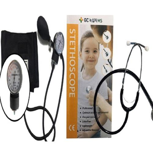 녹십자 수동 혈압계 아네로이드 혈압계+기계식 단면 청진기, 1set