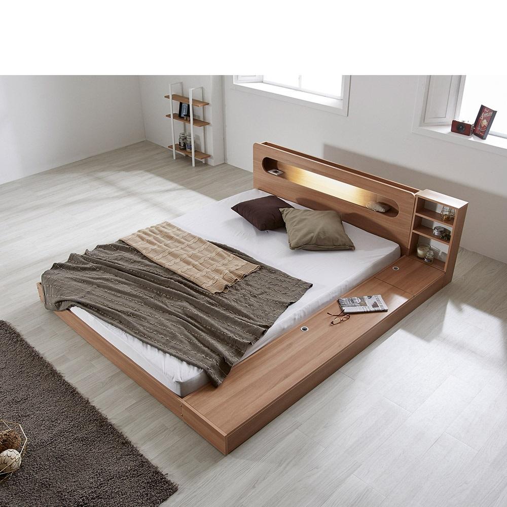 [리샘] 에반 LED 저상형 침대/수납형 퀸Q_40T라텍폼스 (착불), 색상선택:화이트