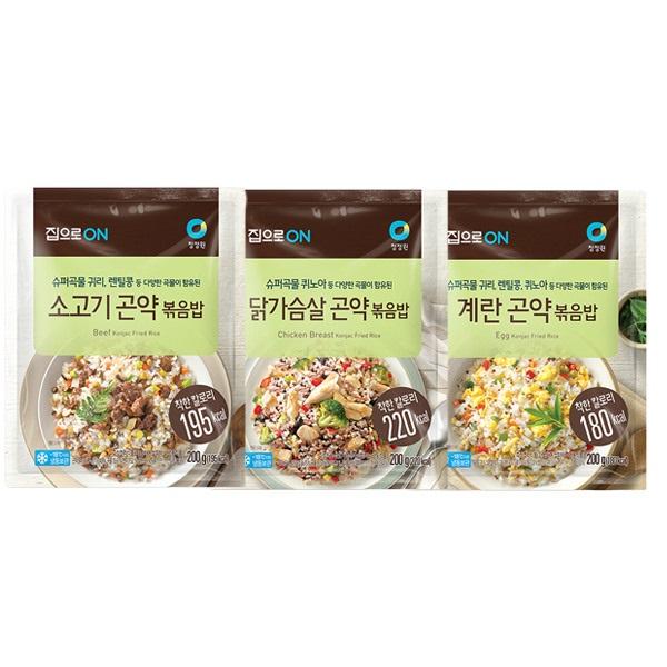 [청정원] 라이틀리 곤약볶음밥 9개(계란3+닭가슴살3+소고기3), 상세 설명 참조