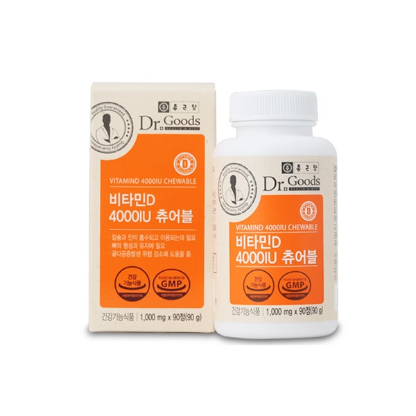 종근당 닥터굿스 비타민D 4000IU 츄어블, 1000mg, 상세설명 참조-4-212823995