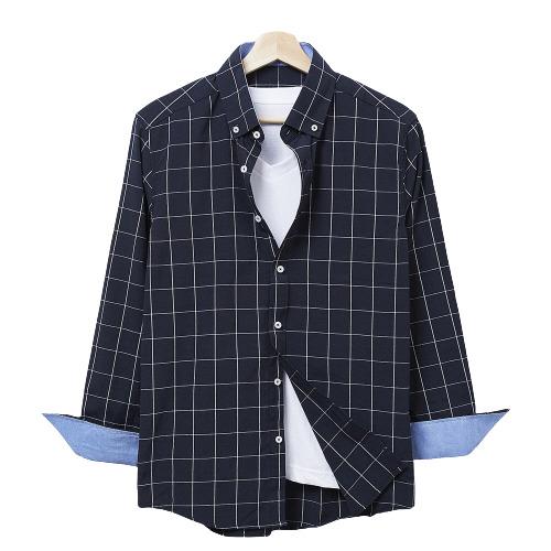 핫코드 남성용 체크 남방 빅사이즈 네이비 긴팔 셔츠 HC17