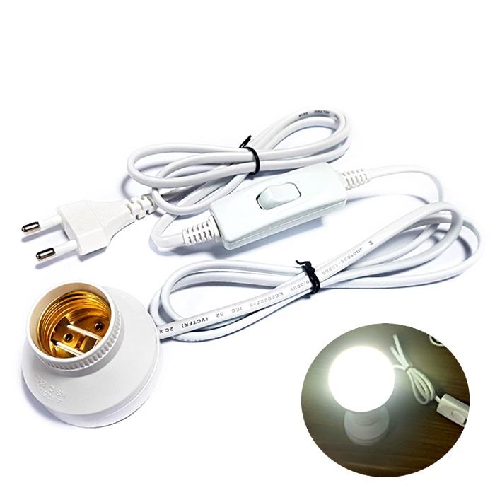 DIT 소켓부착 중간스위치 전선코드. LED전구 백열전구 형광램프 사용. 스탠드 캠핑등 DIY 조명 전등, 1개