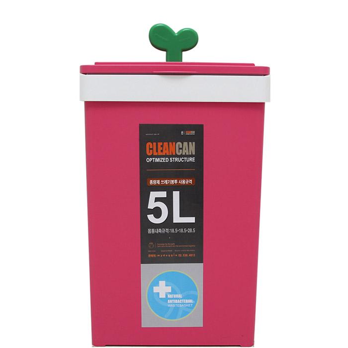 마이도기 일반형 새싹 휴지통 5L, 핑크, 1개