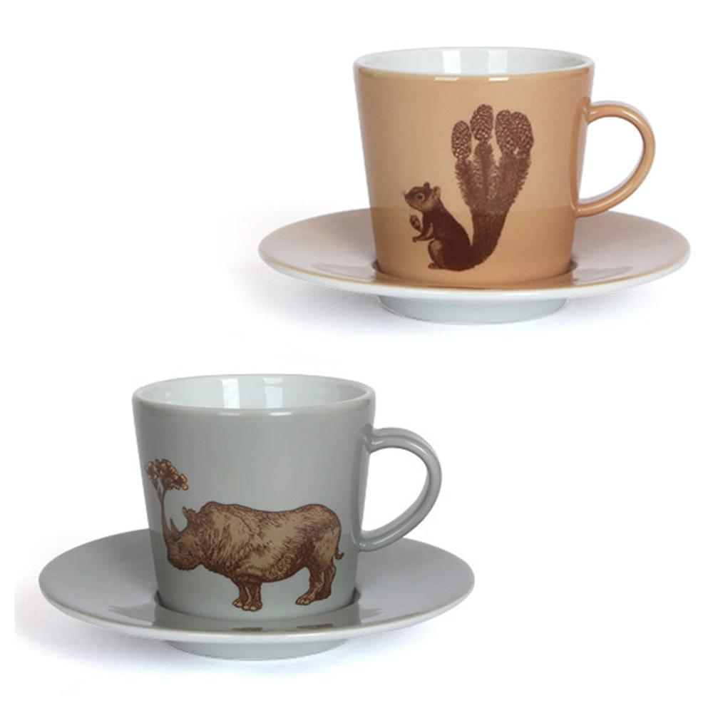 코스타베르데 푸딘헤드 애니멀 커피잔 소서세트 2p, 다람쥐, 코뿔소, 1개