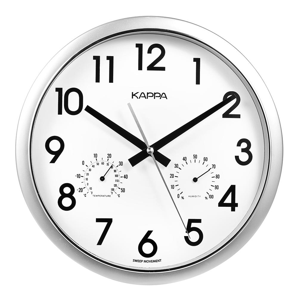 카파 IP197 저소음 온도습도표시 오피스 인테리어벽시계 2종, 실버