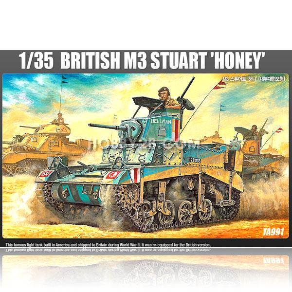 아카데미과학 1:35 브리티시 M3 스튜어트 허니 전함/탱크, 혼합 색상, 15세이상