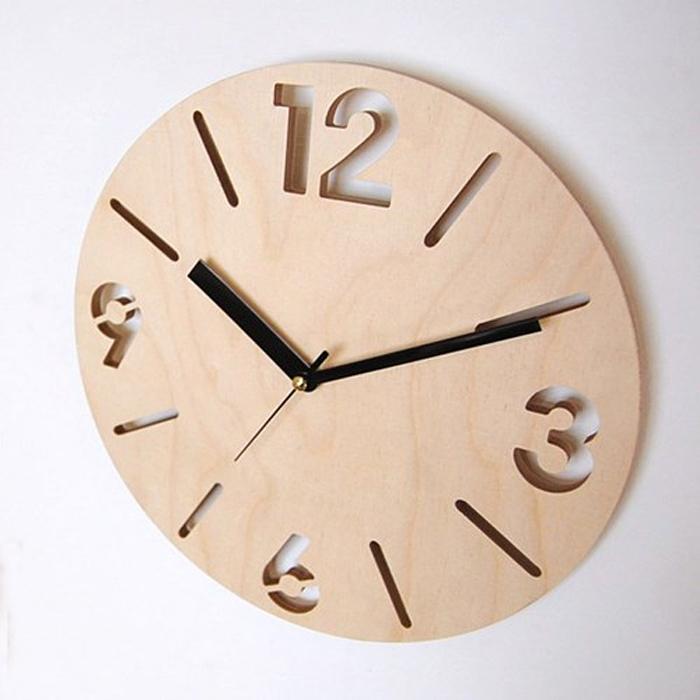 디자인웁스 자작나무 무소음벽시계, NC13