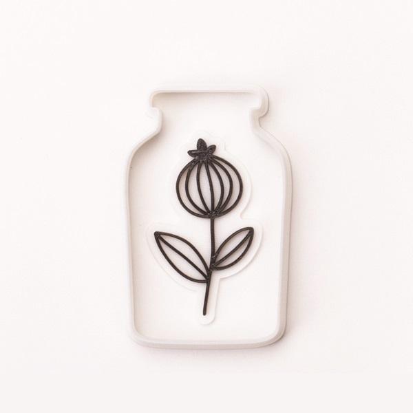 빈티지 유리병 잎사귀 쿠키커터+스탬프 C, 1개