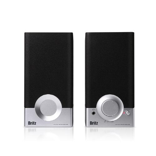 브리츠 2채널 미니 북쉘프 스피커, BR-1000A CUVE BLACK 2, 실버 + 블랙