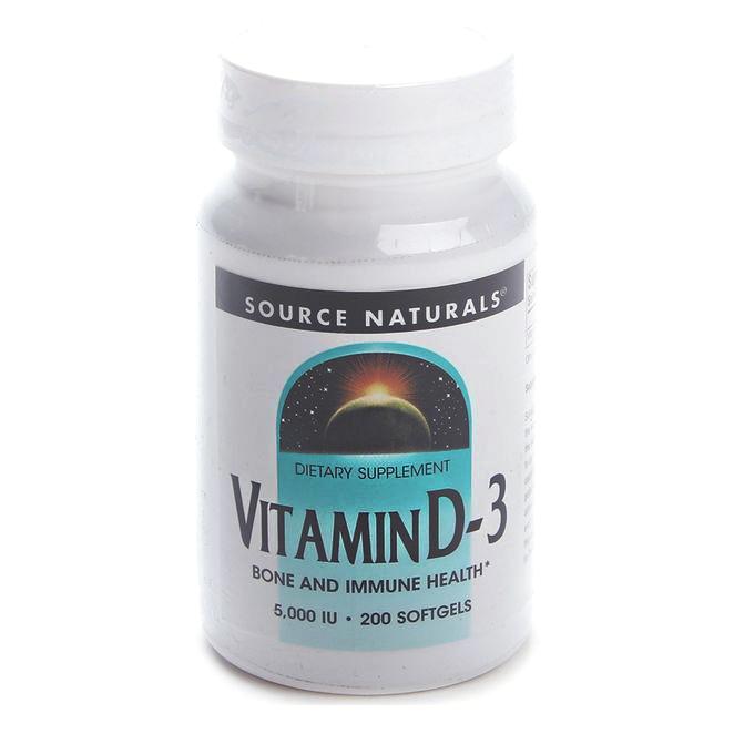 소스내츄럴스 비타민 D-3 5000 IU 소프트젤, 200개입, 1개