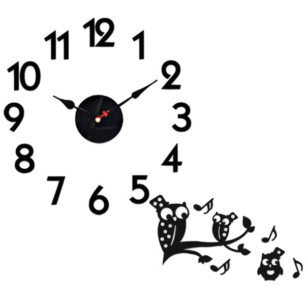 홈코코 압축스펀지 블랙 숫자 스토리 벽시계, 부엉이