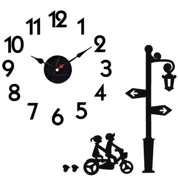 홈코코 압축스펀지 블랙 숫자 스토리 벽시계, 자전거 타는 연인