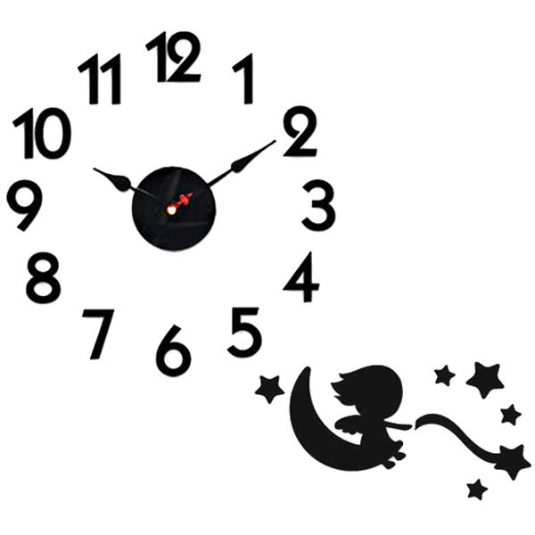 홈코코 압축스펀지 블랙 숫자 스토리 벽시계, 엔젤