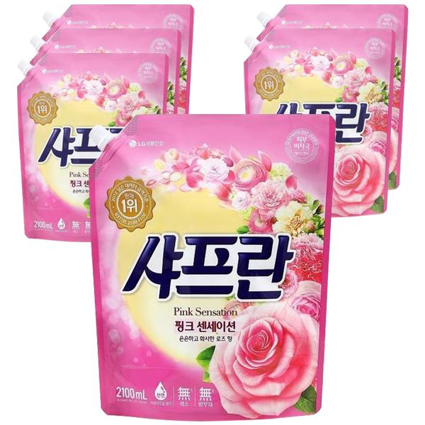 샤프란 핑크센세이션 섬유유연제 로즈향 리필, 2.1L, 6개