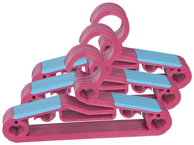 하트논슬립 어린이옷걸이 30P, 핑크, 1개