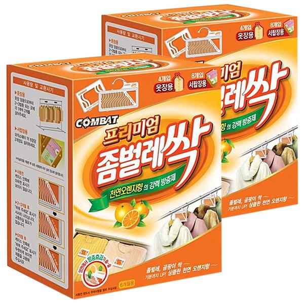 컴배트 프리미엄 좀벌레싹 서랍용 8p + 옷장용 4p 천연오렌지향 방충제, 2개