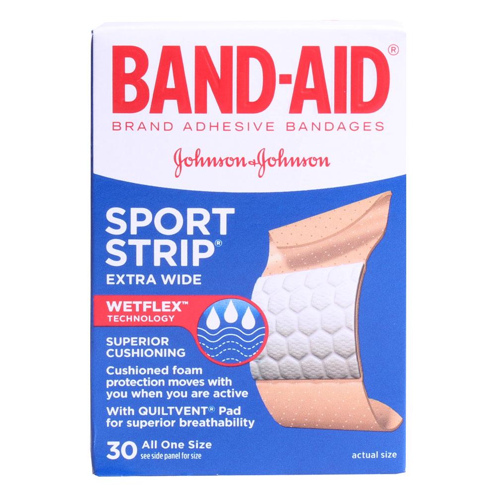 밴드에이드 스포츠 스트립 엑스트라 와이드 웻플렉스 슈페리어 쿠셔닝 밴드, 30개입 (POP 4964016)
