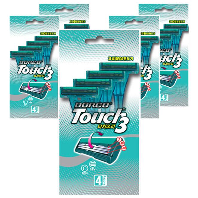 도루코 터치쓰리 3중날 면도기, 4개입, 5개-3-16322021