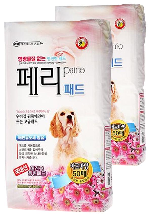 와우한빛 강아지 페리 배변패드 아로마향 50매, 2개