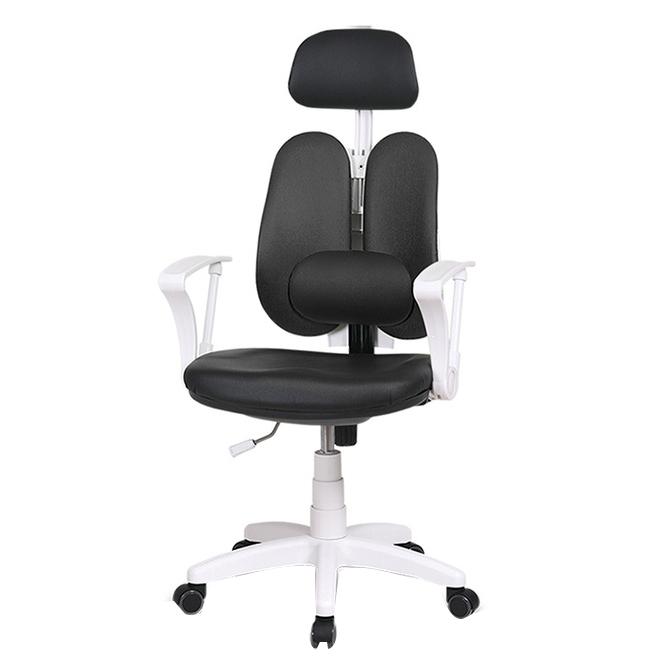 체어클럽 에코듀얼S7 요추헤더형 화이트바디 의자, 메쉬원단 블랙