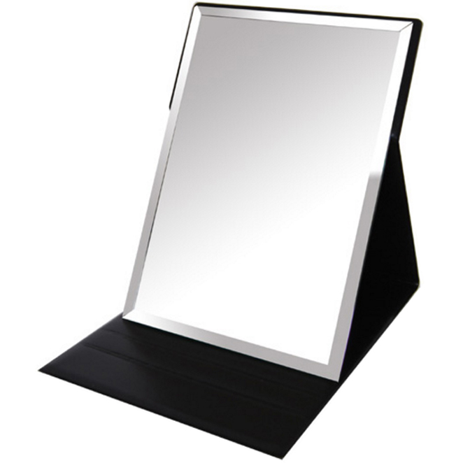미로라인 접이식 탁상용 가죽거울 대형, 블랙, 1개