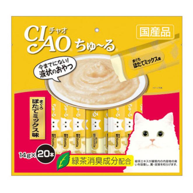 이나바 챠오츄르 고양이 간식, 참치 + 조갯살, 20개입