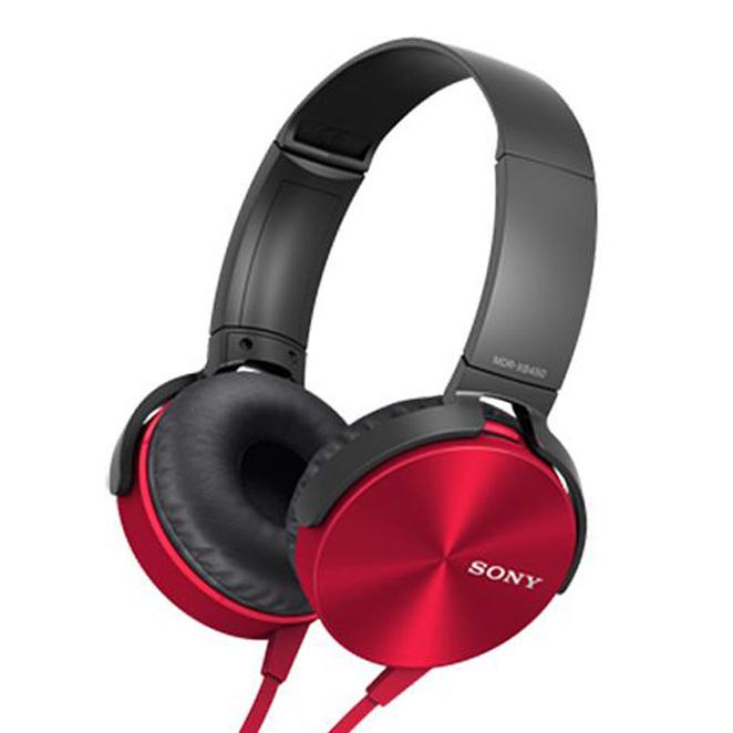 소니 스테레오 헤드폰 MDR-XB450AP, 레드