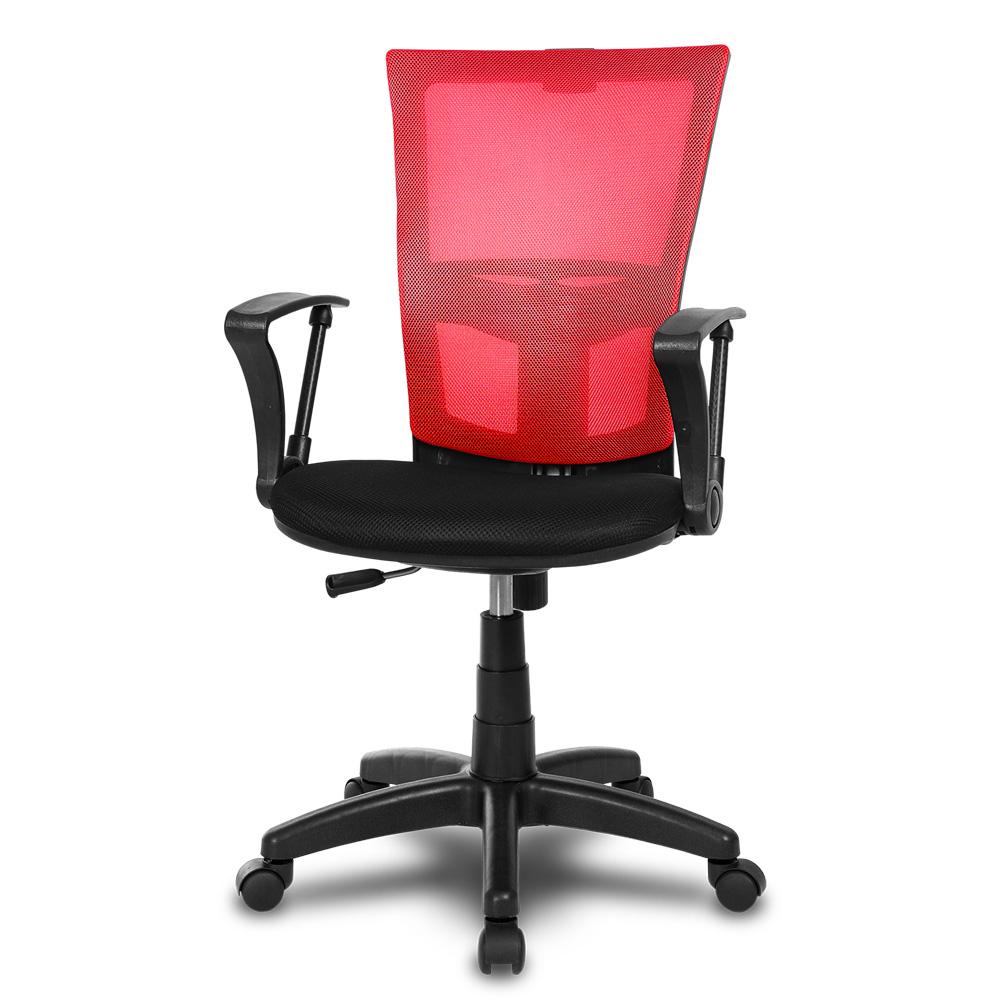 체어클럽 M1 기본형 블랙바디 메쉬 의자, 레드