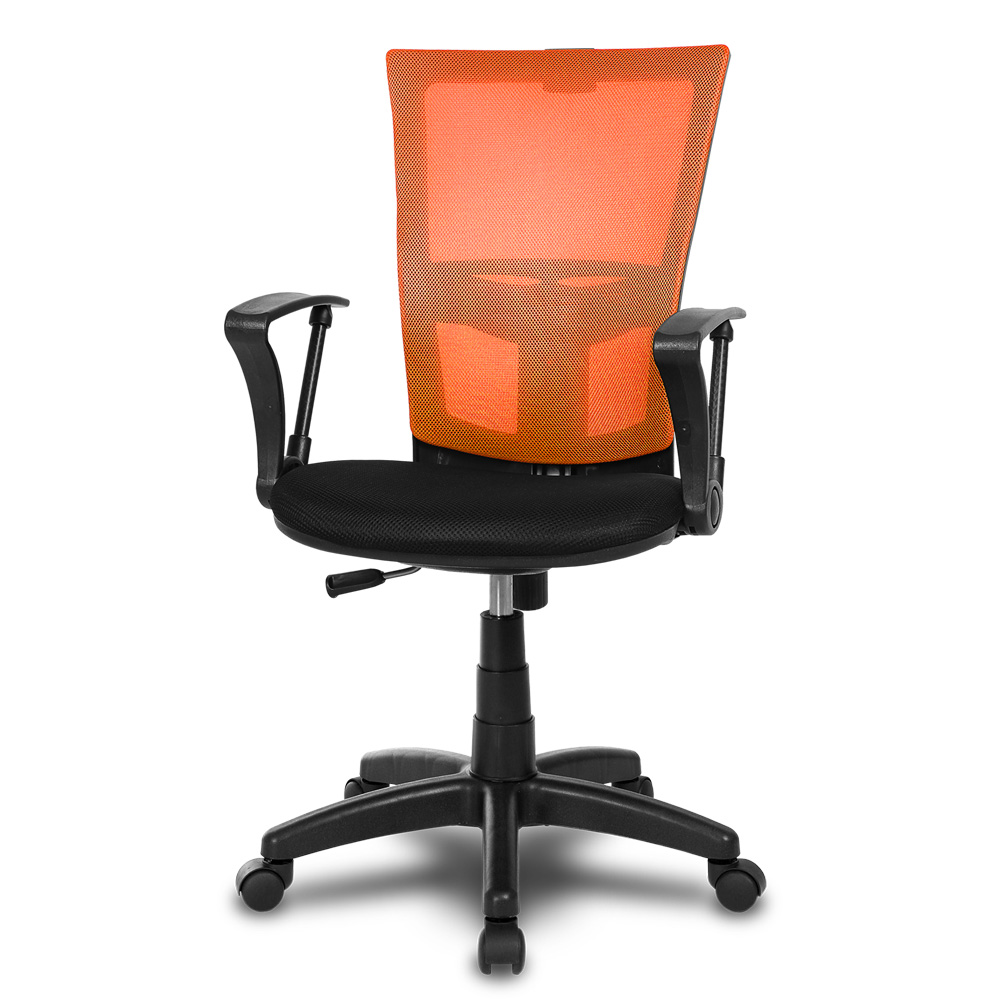 체어클럽 M1 기본형 블랙바디 메쉬 의자, 오렌지