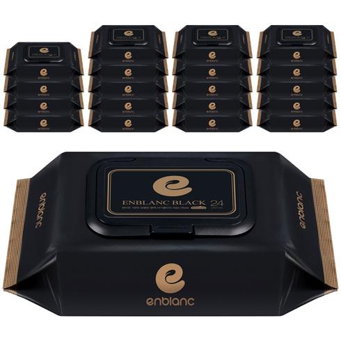 앙블랑 프리미엄 블랙 아기물티슈 휴대캡형, 24매입, 20팩