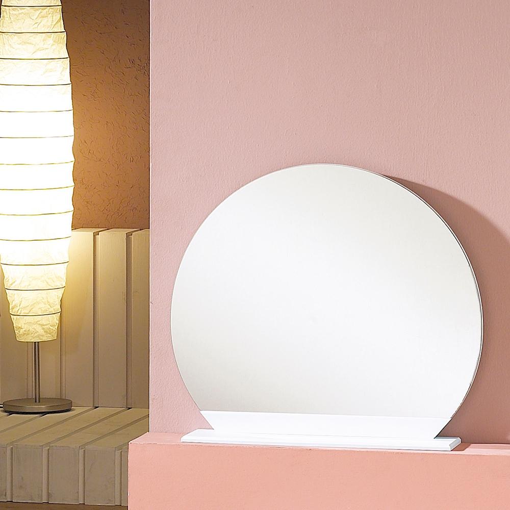 우드웰 스탠드형 원형거울 600 x 600, 화이트