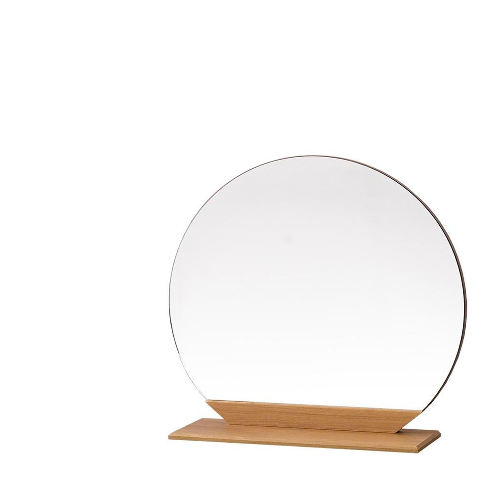 우드웰 스탠드형 원형거울 700 x 600 cm, 아카시아